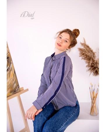 Женская блуза - рубашка 195  iDial.style в полоску