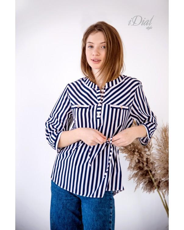 Женская блуза 16 iDial style синяя полоска