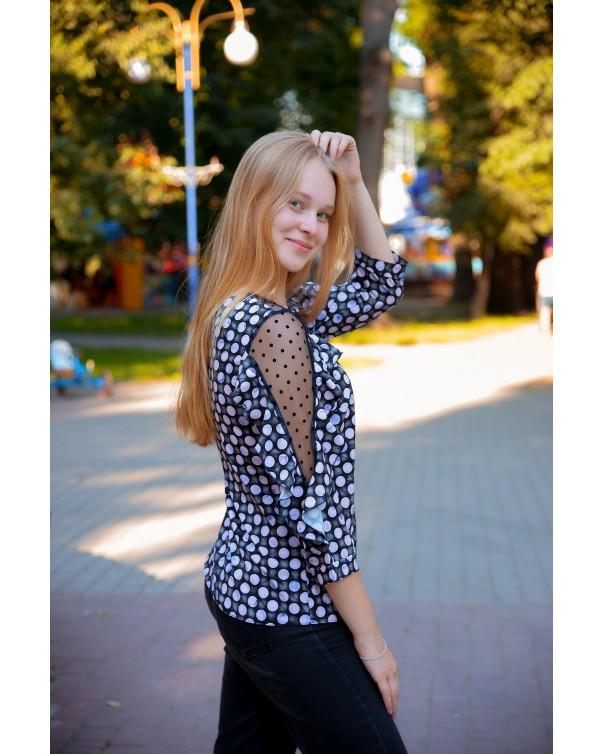 Женская блуза 509/1 iDial style горох темная