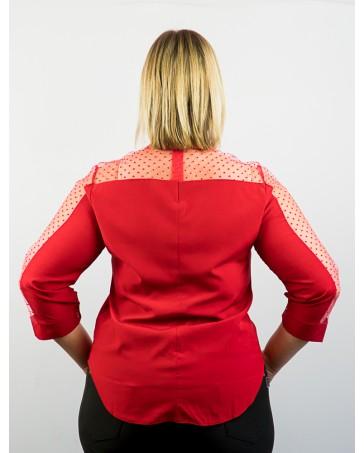 Женская блуза красная iDial style с сеткой