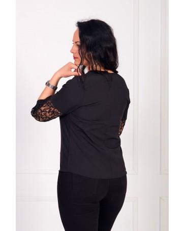 Женская блуза iDial style черная с кружевом 0520