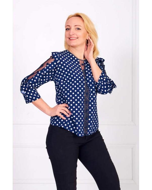 Женская блуза iDial style Синяя в горох 0508