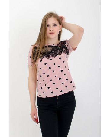 Женская футболка с кружевом в горох iDial style 507
