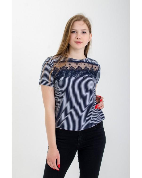 Женская футболка с кружевом синяя iDial style 507