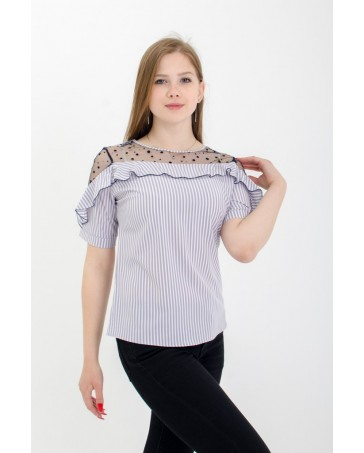 Женская блуза с рюшей светлая iDial style 80/2