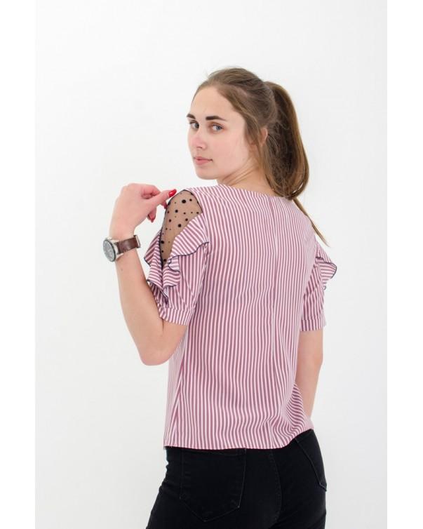 Женская блуза с рюшей розовая iDial style 80/2