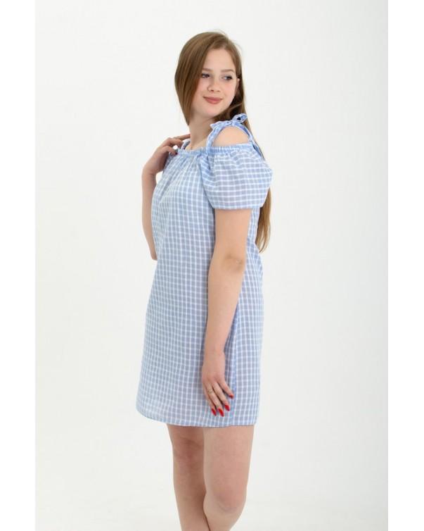 Женский сарафан iDial style  голубой в  клетку 778