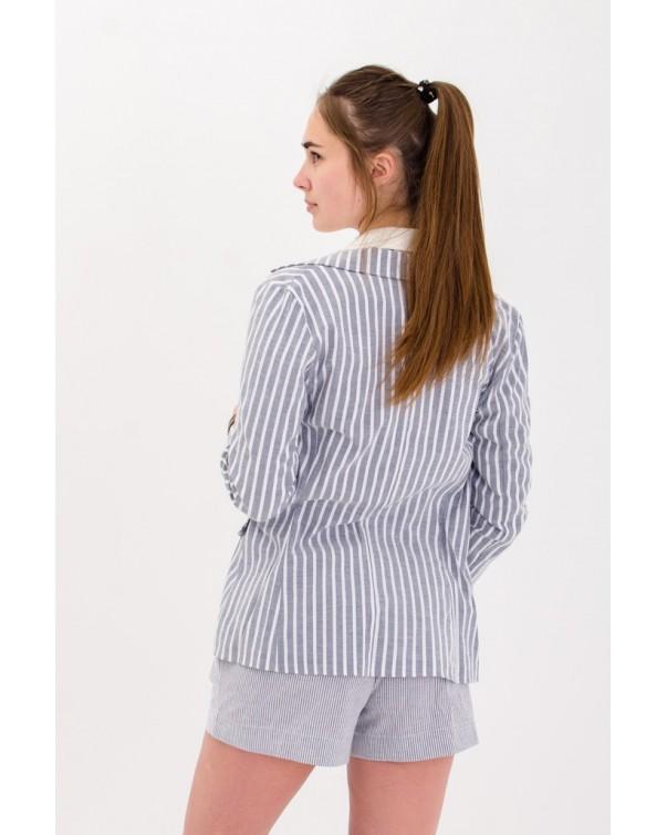 Льняной пиджак iDial style в серую мелкую полоску 02
