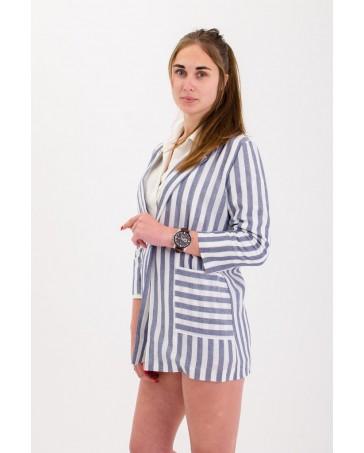 Льняной пиджак iDial style в серую грубою полоску 02