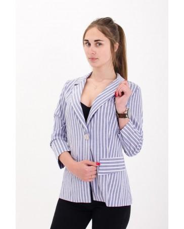 Льняной пиджак iDial style в голубую мелкую полоску 02