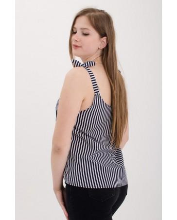 Женская майки на завязках iDial style черная в полоску 0560