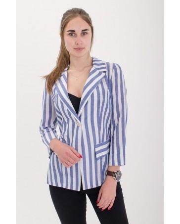 Женский пиджак льняной  iDial style с голубой грубой полоской 02