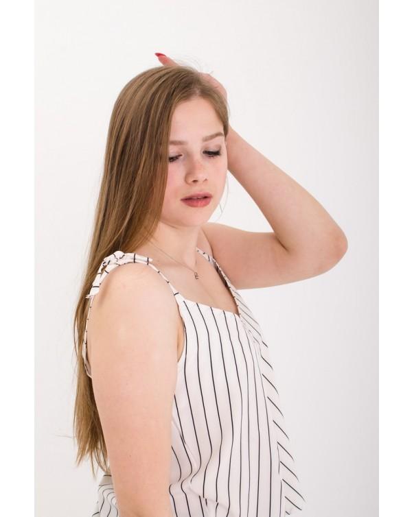 Женская майки на завязках iDial style белая в полоску 0560