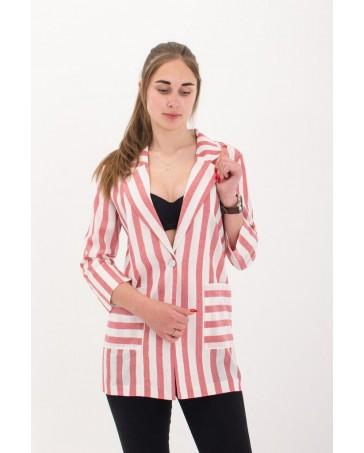 Женский пиджак льняной iDial style с розовой полоской 02