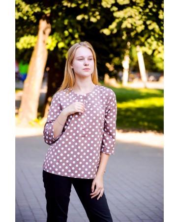 Женская блуза iDial style коричневая  в горох 796