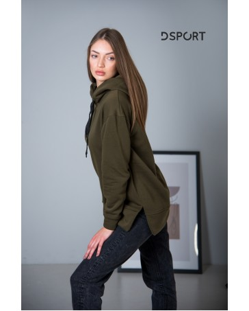 Женская худи 432 iDial style хаки на флисе
