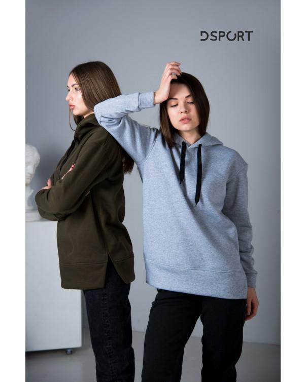 Женская худи 432 iDial style серая на флисе