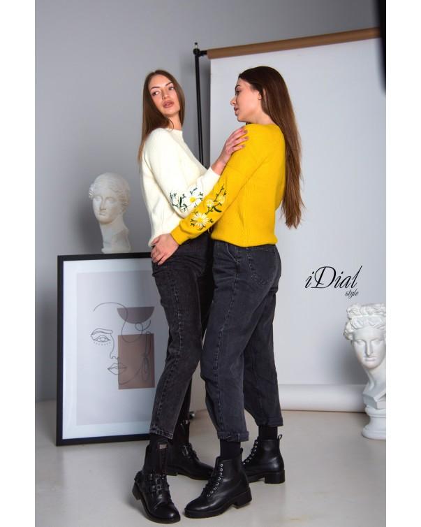 Женская кофта 1100  iDial style  желтая ромашка
