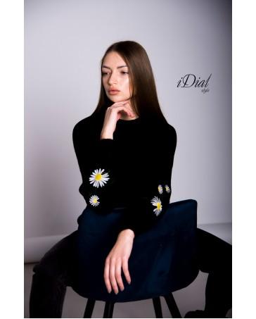 Женская кофта 1100  iDial style  черная ромашка