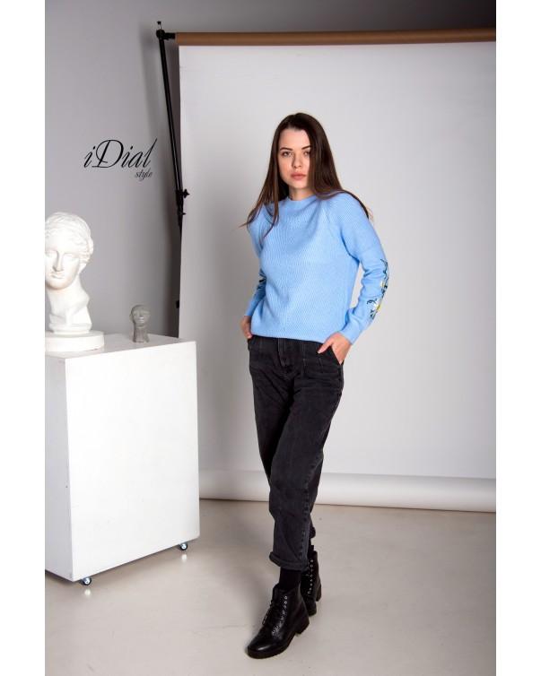 Женская кофта 1100  iDial style  голубая ромашка