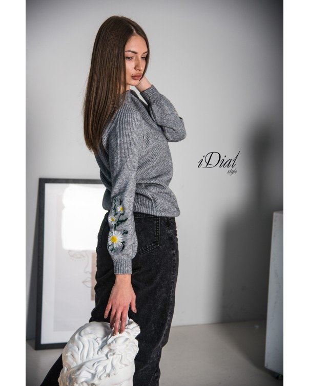 Женская кофта 1100  iDial style серая ромашка