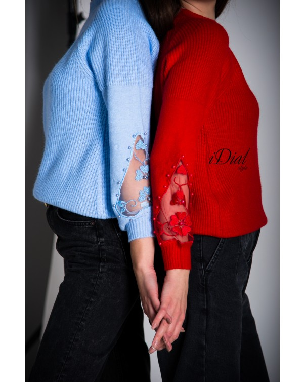 Женская кофта 1001  iDial style голубая кружевной рукав