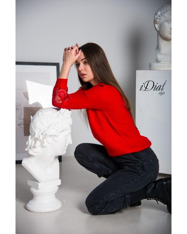 Женская кофта 1001  iDial style красная кружевной рукав