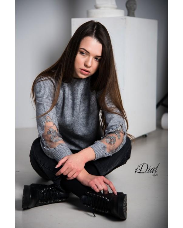 Женская кофта 1001  iDial style серая кружевной рукав