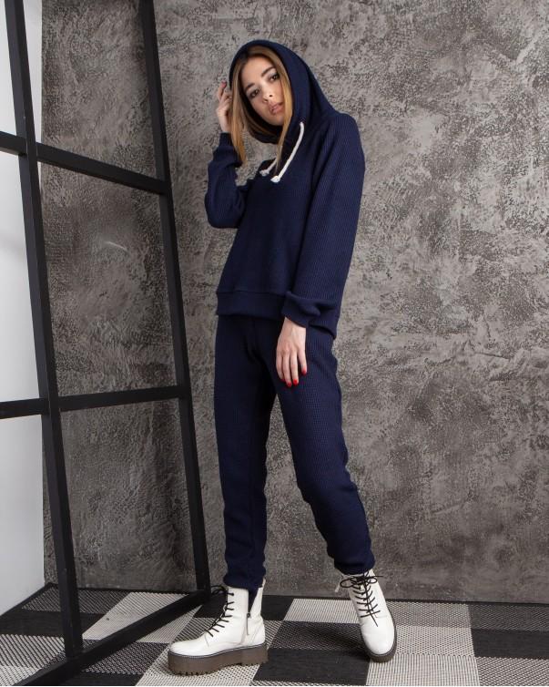 Спортивный костюм вязка синий 406-5
