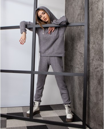 Спортивный костюм вязка серый 406-4