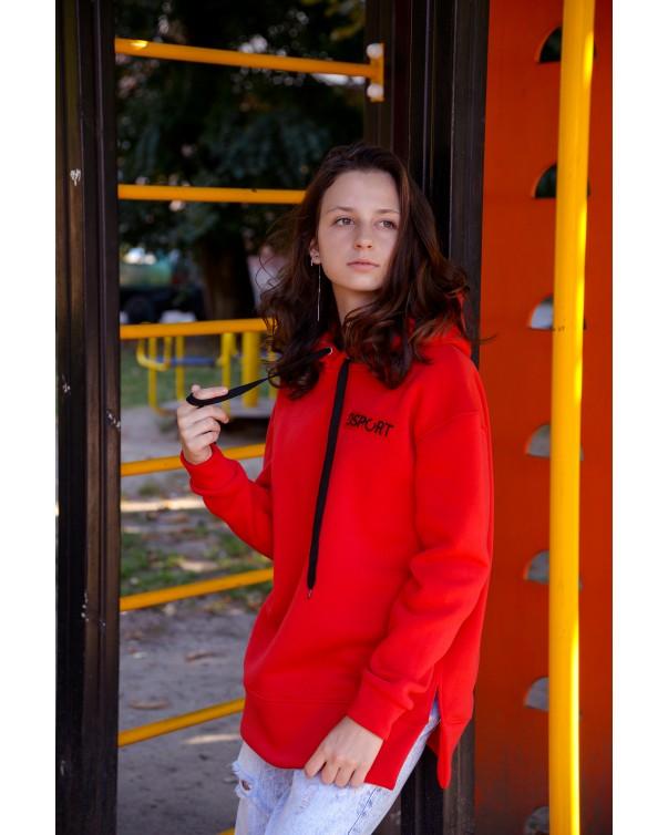 Худи 432 iDial style красная на флисе