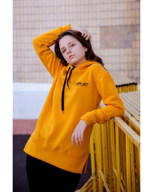 Худи 432 iDial style желтый на флисе